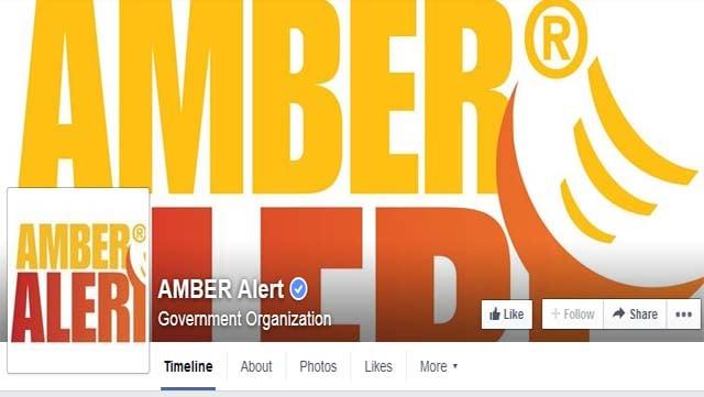 Screenshot of Amber Alert social media page. (Source: Facebook)