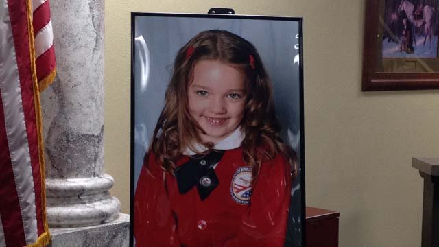 A photo of 5-year-old Kiera Driscoll is displayed at American Heritage Academy in Las Vegas on Wednesday, Jan. 21. (Source: Danielle Miller/FOX5)