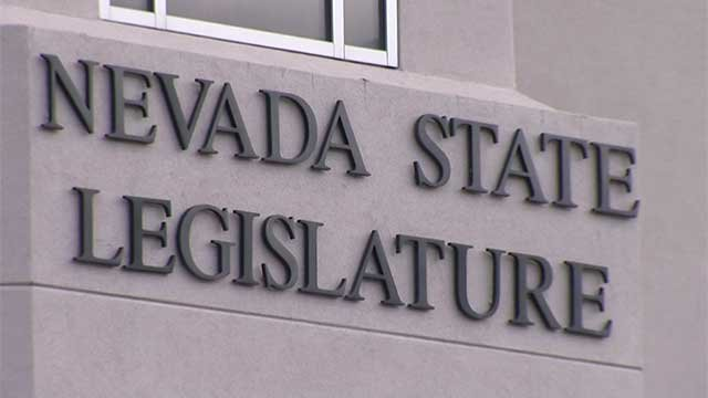 A sign marking the building where the Nevada Legislature meets is see in this Feb. 3, 2015, image. (Justin Grant/FOX5)