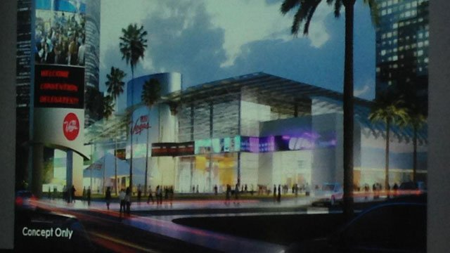 LVCVA displayed a concept design for its planned convention building in the space where the Riviera hotel-casino occupies. (Jane Sander/FOX5)
