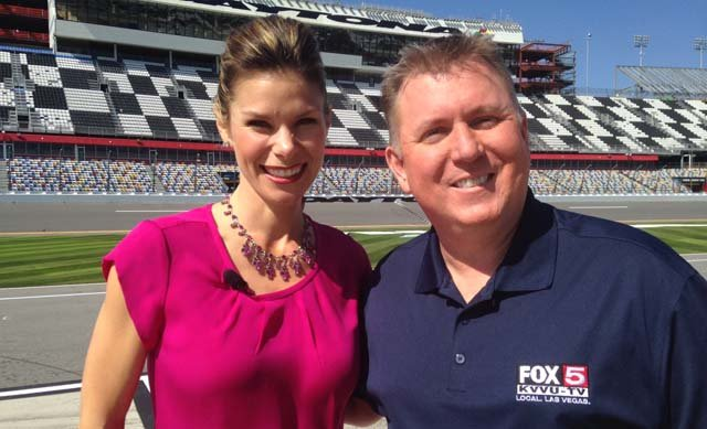 Fox Sports reporter Jamie Little poses with FOX5's Kevin Bolinger at the Daytona 500 on Feb. 12. (Kevin Boliner/FOX5)