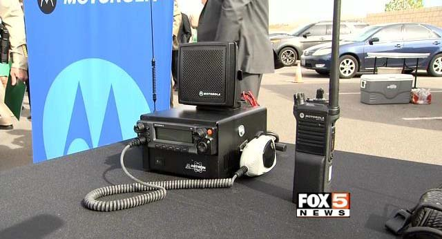 Metro police display a radio which is part of its new Motorola Solutions PS5 Radio System on Tuesday, March 17. (FOX5)