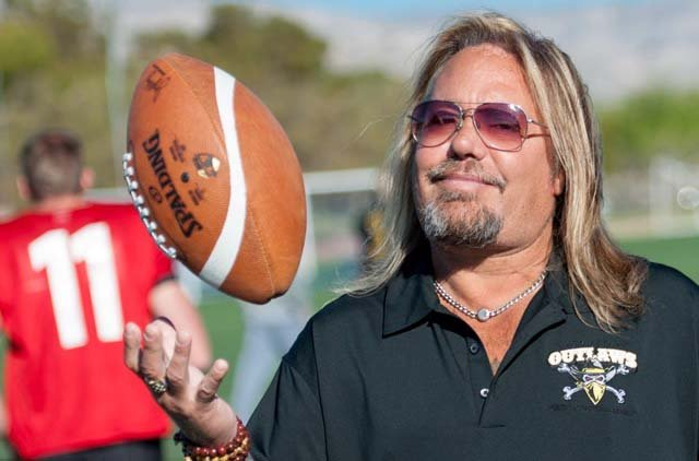 Vince Neil appears at a practice session for his Arena Football League team, the Las Vegas Outlaws, on March 12, 2015. (Source:Tom Donoghue/www.donoghuephotography.com)