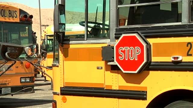 School buses are parked in a yard in Las Vegas. (File/FOX5)