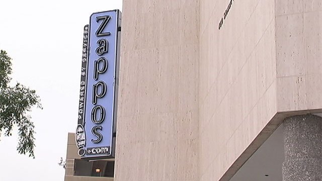 The sign for Zappos is seen on its headquarters in downtown Las Vegas. (File/FOX5)