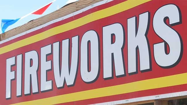 The sign of a Henderson fireworks stand is seen in this undated file image. (File/FOX5)