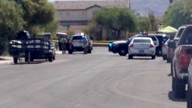 Police investigate a shooting at a home in northeast Las Vegas on June 30, 2015. (Tiffany Murphy/FOX5)