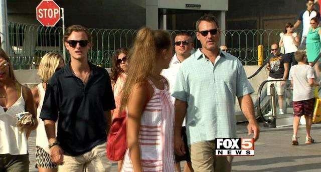 Tourists move down the Las Vegas Strip in this image from Wednesday, July 1. (FOX5)