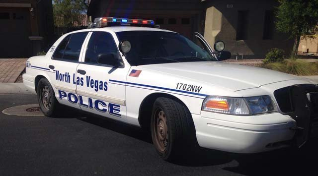 A North Las Vegas police patrol vehicle at the scene of a deadly shooting on Plumeria Avenue on Monday, July 13. (Danielle Miller/FOX5)