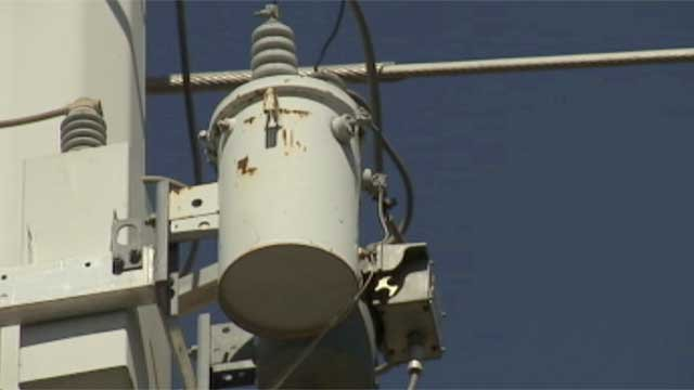 A transformer is seen atop a power pole in Las Vegas. (File/FOX5)