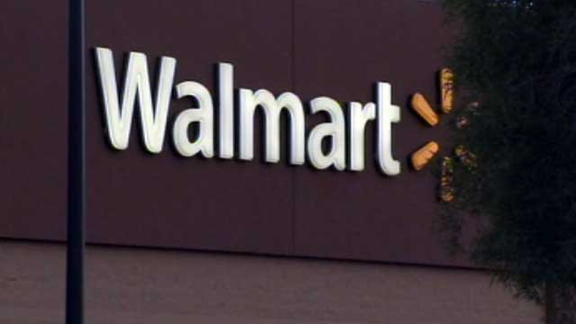 The Walmart logo is seen on the side of a store in Las Vegas. (File/FOX5)