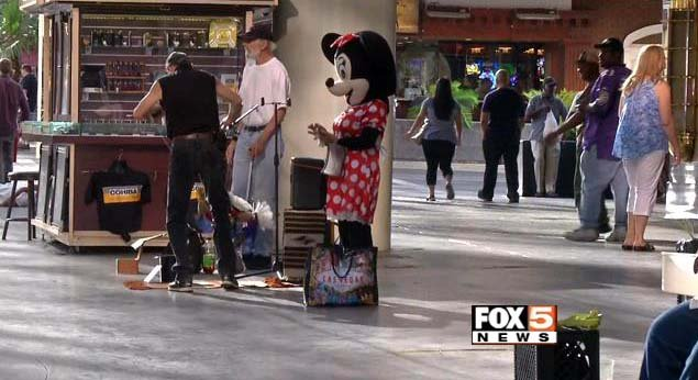 A street performers appears at Fremont Street Experience on Monday, May 1. (FOX5)