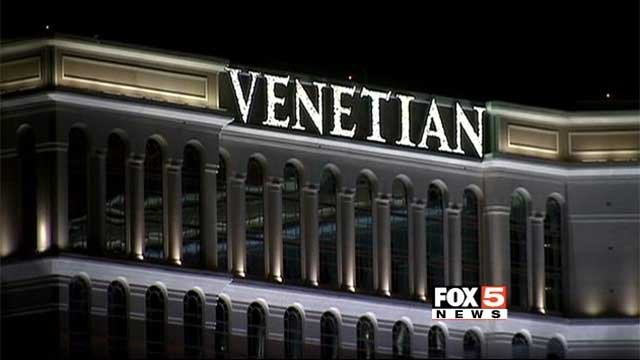 A sign is seen atop one of the hotel at the Venetian resort along the Las Vegas Strip. (File/FOX5)