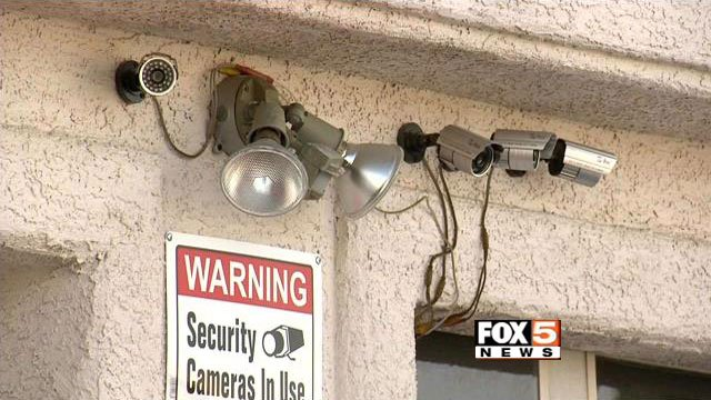 Security cameras are attached to a home residences in this undated photo. (FOX5)
