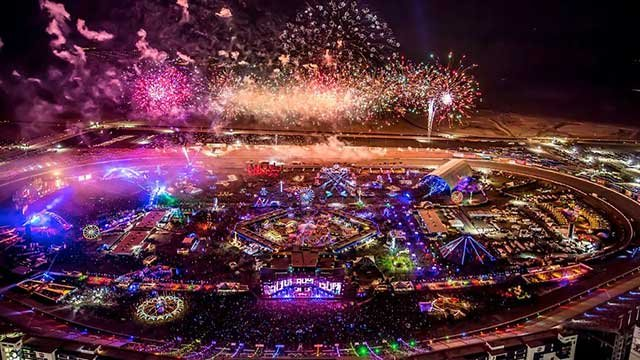 In this undated image, fireworks explode over the Las Vegas Motor Speedway during EDC. (Source: Twitter/EDC Las Vegas)