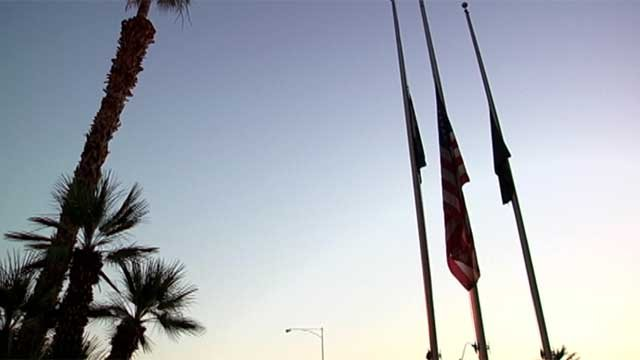 Flags are flown at half-staff at a park in Las Vegas in this file image. (File/FOX5)