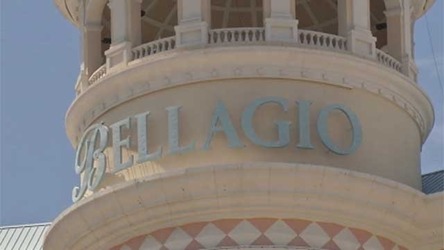 A sign shows the name of the Bellagio atop the properties center tower. (File/FOX5)