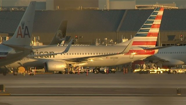 American Airlines airplanes are parked on the tarmac at McCarran International Airport in Las Vegas. (Armando Navarro/FOX5)