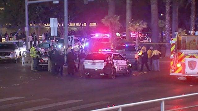 Emergency vehicles block a section of Las Vegas Strip after a crash Dec. 20, 2015. (Luis Marquez/FOX5)