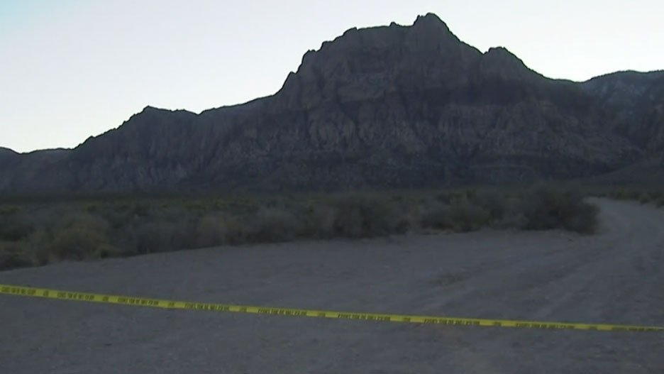 Police tape closes off section of Red Rock Canyon on Dec. 26, 2015. (Luis Marquez/FOX5)