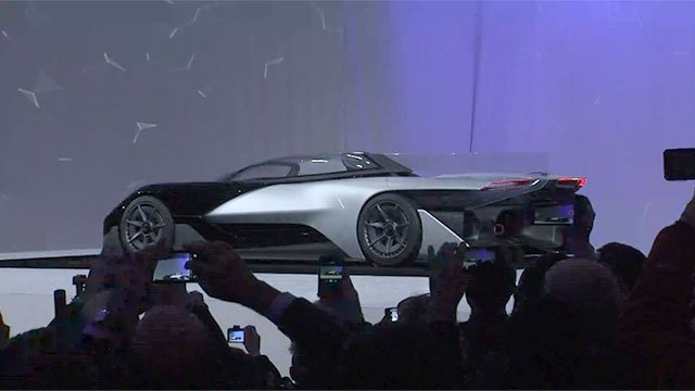 Automaker Faraday Future unveiled its electric concept car before its exhibition at CES on Jan. 4, 2016. (FOX5)