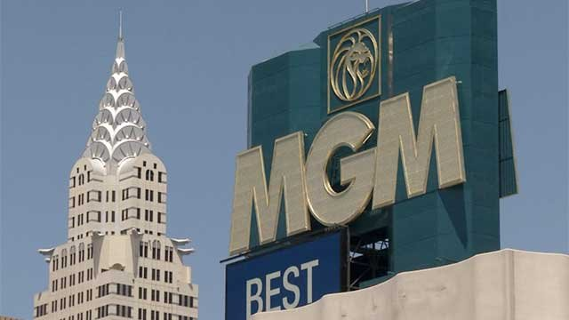 The marquee of MGM Grand and a tower at New York-New York is seen in this undated picture. (File/FOX5)