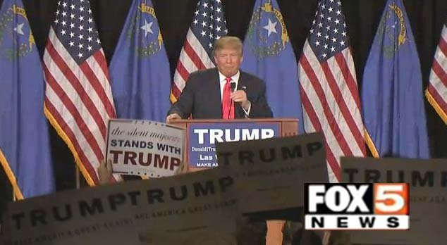 Donald Trump speaks at South Point Hotel Casino and Spa in Las Vegas on Thursday, Dec. 21. (Source: FOX5)