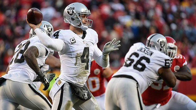 Oakland Raiders quarterback Derek Carr (4) throws against the Kansas City Chiefs during the first half of their NFL football game in Kansas City, Mo., Sunday, Jan, 3, 2016. (AP Photo/Reed Hoffmann)