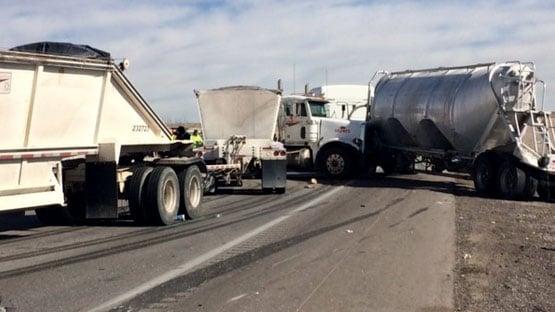 Semi-trucks, car crash on I-15 near Speedway - Las Vegas news
