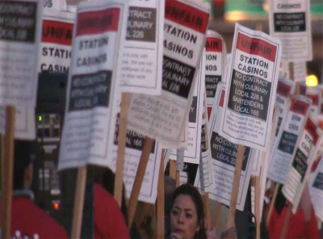 Members of Culinary Workers Union Local 226 protest outside Palace Station in Las Vegas on Feb. 12, 2016. (Source: FOX5)