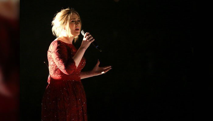 "Adele performs ""All I Ask"" at the 58th annual Grammy Awards on Monday, Feb. 15, 2016, in Los Angeles. (Photo by Matt Sayles/Invision/AP)"