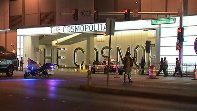 Las Vegas Metro police work traffic control in front of the Cosmopolitan of Las Vegas parking garage entrance on Feb. 19, 2016. (Armando Navarro/FOX5)