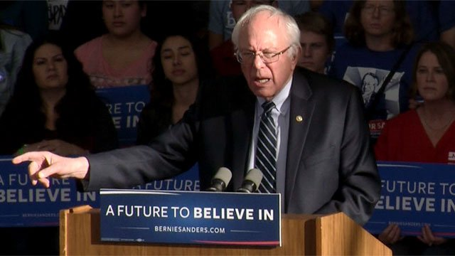 Bernie Sanders delivers a speech in Henderson after the Nevada Democratic caucus Feb. 20, 2016. (Roger Bryner/FOX5)