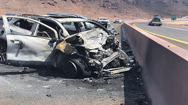 NHP is investigating a fatal crash involving two vehicles on the I-11 in Boulder City, Nev. Aug. 14, 2018 (Photo: NHP / Twitter).