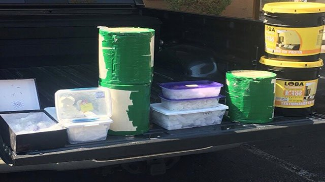 North Las Vegas police seized over 70 pounds of meth from a home (Photo: NLVPD / Twitter).