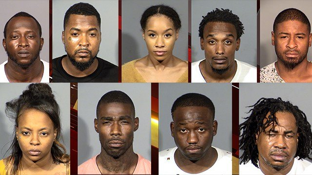 Top (left to right): Antonio Williams, Antron Simms, Lexus Sherman, Jerome Francis, Michael Green. Bottom (left to right): Ashley Medlock, Steven Neal, Phillip Semper, and Corey Johnson. (Photos: LVMPD)