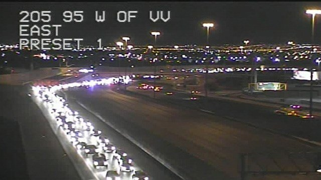 The Nevada Highway Patrol said someone is dead after exiting a moving automobile and getting hit by another on the United States 95 near Jones Boulevard Monday night. ( Picture: FASTCAM)