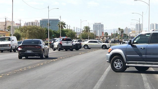 Las Vegas police investigated an officer-involved shooting at 900 Doolittle Ave. on Aug. 25, 2018. (Gai Phanalasy/FOX5)