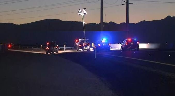 NHP investigates a crash that left two dead on the I-11 highway in Boulder City Aug. 28, 2018 (Photo: FOX5).