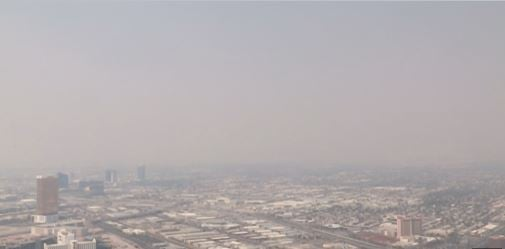 The Las Vegas Valley shown here with wildfire smoke filling the air on July 24, 2016. (StratosphereFOX5)