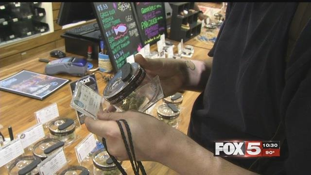 Marijuana is displayed for sale at a dispensary. (FOX5)
