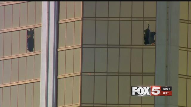 Stephen Paddock unleashed his rampage through two broken windows at the Mandalay Bay hotel (FOX5).