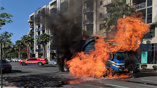 A Republic Services garbage truck caught fire in downtown Las Vegas April 14, 2018 (LVFR).