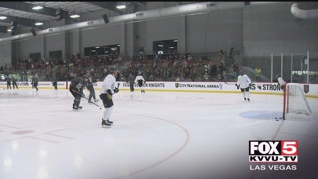 The Vegas Golden Knights are shown practicing at City National Arena. (FOX5)