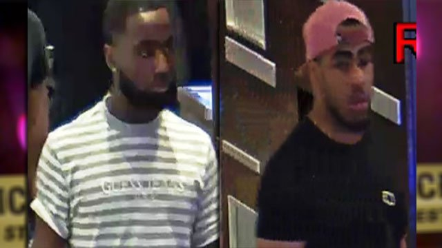 Surveillance video stills show the two suspects wanted for multiple robberies (LVMPD / FOX5).