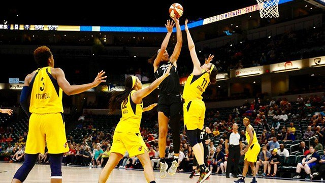 A'ja Wilson scored 17 of her 35 points in the fourth quarter and overtime, helping the Las Vegas Aces beat the winless Indiana Fever 101-92 on Tuesday night. (Photo: Las Vegas Aces)